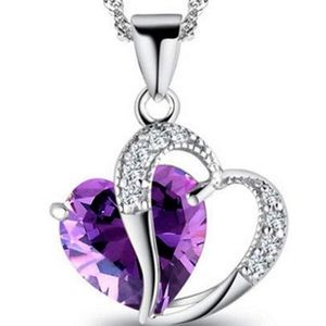 Jewelry - 18K White Gold Amethyst heart pendant necklace